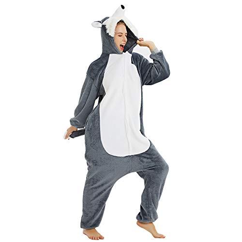 CozofLuv Unisex Pijama Mono Traje de Perro Husky Animal para Halloween Carnival Christmas Party Traje de Cosplay (#7, L (168-178cm))