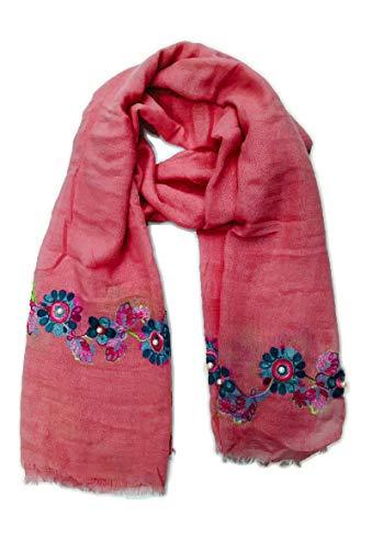 Si Moda Dames sjaal ronde sjaal halsdoek bloemen borduurwerk kant parels meerkleurig