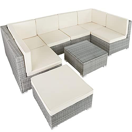 TecTake 800762 Set di Salottino in Rattan, 6 Sedili 1 Sgabello 1 Tavolin con Piano, Resistente alle Intemperie, Viti in Acciaio Inox (Grigio Chiaro)
