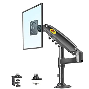 NB North Bayou Monitor Arm Monitor Stand Monitor Desk Mount Height Adjustable VESA Bracket for 17 to 27 Inch Computer Screen - Holds up to 19.8lbs with C Clamp Bolt-Through Grommet Base H80-B