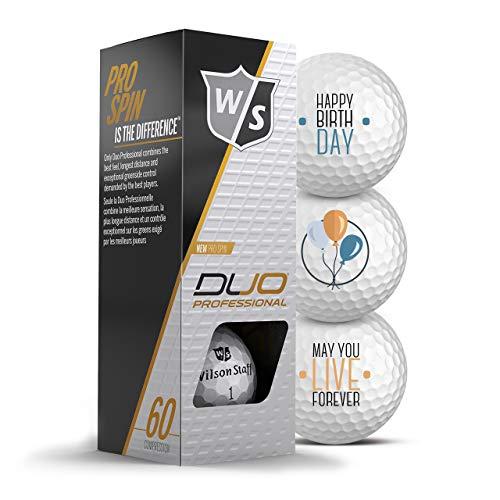 Wilson Staff Golfbälle 3er Pack Happy Birthday Motiv Golf Geschenke für Golfer Geschenkidee (Duo Professional)