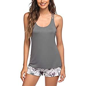 Ekouaer Pajamas Women's Cami Pajama Set Sleeveless Sleepwear Racerback PJ Sets Soft Tank Top Set with Shorts