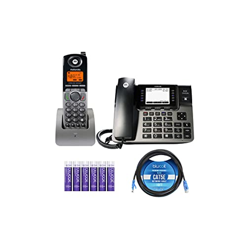 Motorola ML1000 DECT 6.0 Expandable 4-Line Business Phone System with Digital Receptionist & Answering System Bundle with ML1200 Cordless Handset, Blucoil 10-FT 1 Gbps Cat5e Cable and 6 AAA Batteries