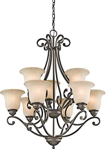 Kichler 43226OZ Camerena Large Chandelier Lighting, Olde Bronze 9-Light (30' W x 35' H) 900 Watts