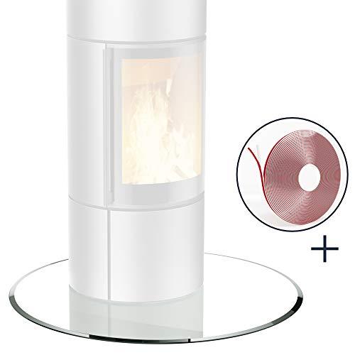 bijon® Glasplatte für Kaminofen Kreis mit Dichtlippe Glasbodenplatte - Funkenschutzplatte Glas | Kamin Hitzeschutz | 60 x 60 cm – 6 mm ESG Kamin-Bodenplatte