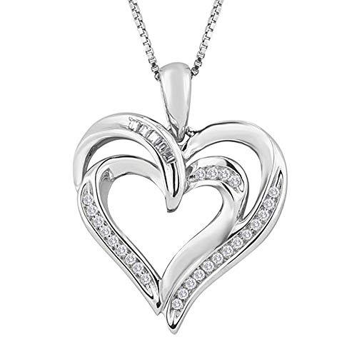 Ani's Collar de cadena de 45,7 cm de plata de ley 925 con colgante de dos corazones