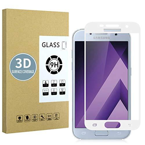 E-Hamii Protector de Pantalla Compatible con Samsung Galaxy A5 2017[Blanca],[Alta definición][Anti arañazos],Cristal Templado 3D,[Respuesta Sensible][Instalación sin Burbujas]
