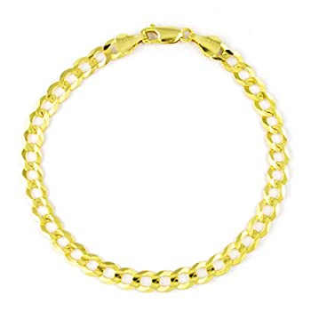 Nuragold 14k Yellow Gold 5.5mm Cuban Curb Link Chain Bracelet Mens Womens Lobster Lock 7  7.5  8  8.5  9