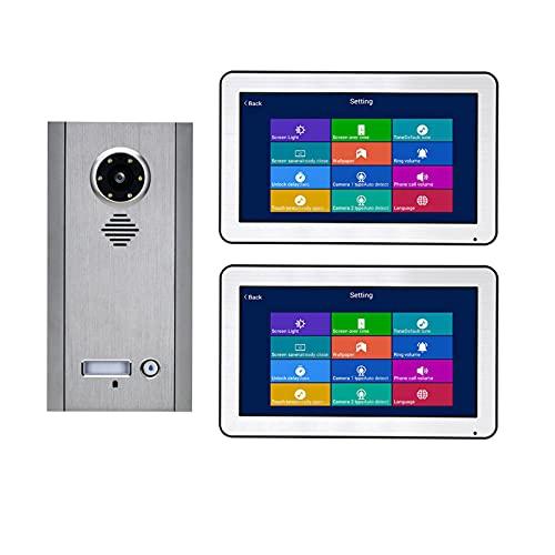 HBHYQ WiFi inalámbrico Kit de Sistemas de intercomunicación del teléfono de la Puerta del teléfono de la Puerta de Video de 10 Pulgadas para el hogar para el hogar 2 Unidades Apartamento Noche Visión