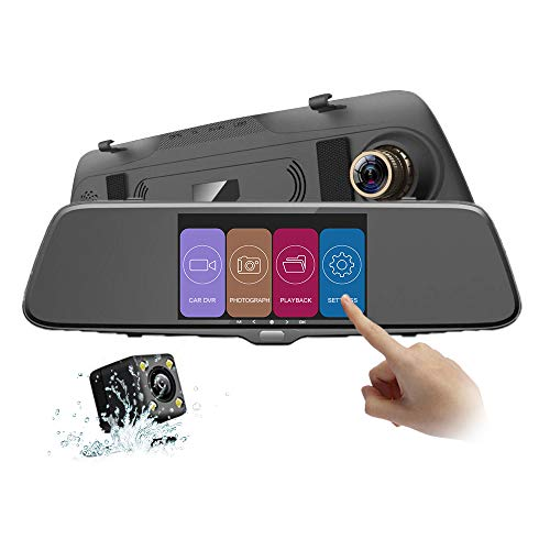 autowit Backup Camera 5.0' IPS Mirror Dash Cam Dual Dashboard Camera Recorder with Touch Screen 1080P Front and Rear Dual Lens, G Sensor, Reverse Monitor, Loop Recording, Waterproof Reversing Camera