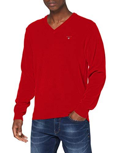 GANT Superfine Lambswool V-Neck Suéter, Rojo Brillante, 4XL para Hombre