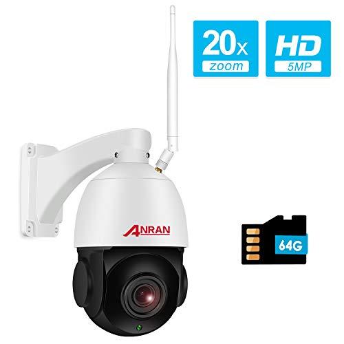 5MP Dome Überwachungskamera WLAN Anran HD Innen Außen PTZ Überwachungskamera mit 20X Optischem Zoom Eingebaute 64GB SD-Karte Zwei-Wege-Audio Wasserdicht Nachtsicht Fernzugriff und Bewegungsmelder