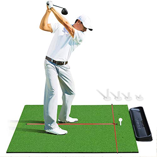 Champkey PRO Golf Hitting Mats Bundle | Premium Turf with Rubber Foam Padding Golf Practice Mats | Includes Golf Tray, 2 Alignment Sticks and 4 Rubber Tees