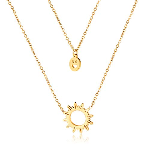 Rockyu Gold Layered Necklaces for Women Flaming Sun Smiley Face Pendant Stainless Steel Smile Face Pendant Statement Party Chain 14 Inch Jewelry for Friends Birthday Gift