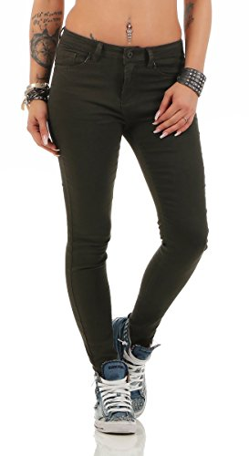 Fashion4Young 11304 Damen Jeans Röhrenjeans Hose Stretch-Denim Damenjeans Skinny (S=36, grün)