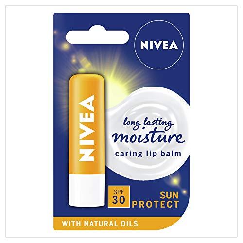 NIVEA Sun Protect Pflegender Lippenbalsam (5,5 ml), schützende Lippen-Feuchtigkeitspflege mit Sheabutter und LSF30, Sonnenschutz Lippenbalsam für 24h Feuchtigkeitspflege, Schmelz-Lippenpflege