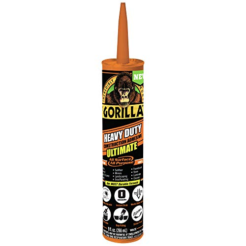Gorilla Heavy Duty Ultimate Construction Adhesive, 9 ounce Cartridge, White, (Pack of 6)