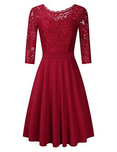 Clearlove Damen Kleider Elegant Spitzenkleid 3/4 Ärmel Cocktailkleid Rundhals Knielang Rockabilly Kleid(Verpackung MEHRWEG), Weinrot, S