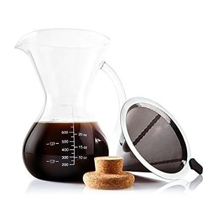 """Cafetera De Goteo""""Pour Over"""" De Apace Living Con Filtro, Tapón De Corcho Y Cuchara Medidora - Elegante Cafetera Manual Con Jarra De Vidrio y Filtro De Acero Inoxidable (800 ML)"""