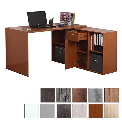 RICOO WM081-ER, Schreibtisch, Holz Eiche Rustikal, Winkelkombination, Arbeitstisch, Bürotisch, Computertisch, Eckschreibtisch, Akten Schrank Lowboard