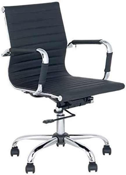 Mid Back Leather Adjustable Rotating Office Chair Computer Rooms Black