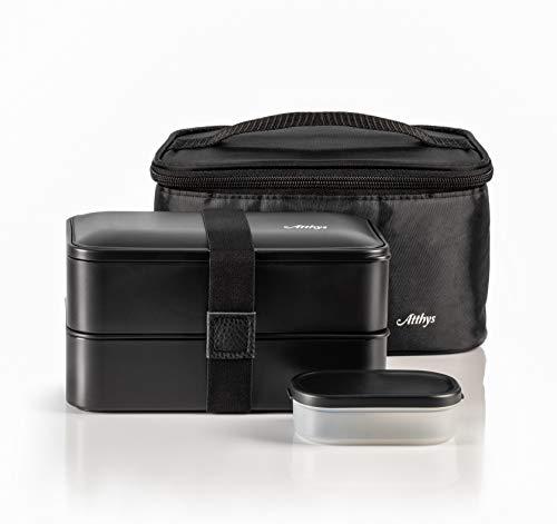 Atthys Fiambrera Bento | Bento Japonés Design 3 Cubiertos de Regalo | Bento Box 2 Compartimentos...