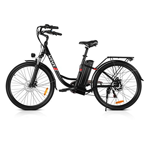 Vivi Electric Bike, 26 Inch City Commuter Bike for Adults, 350W Ebike with 36V 8AH Removable Battery, Shimano 7-Speed Cruiser Bikes for Women (Black Ebike)