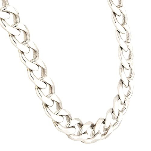 Jollys Jewellers Cadena de plata de ley de 24.5 pulgadas para hombre (8 mm de ancho)