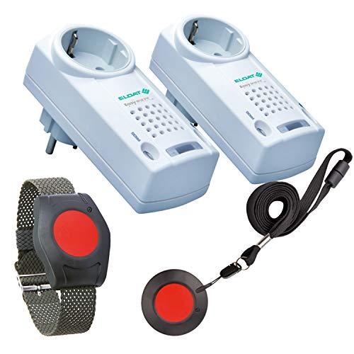 ELDAT Hausnotruf für Zwei mit 2 Funk-Notruf-Sendern und 2 Empfängern für Senioren-, Alten- und Krankenpflege, Pflegeruf-Set ohne Quittierungsfunktion