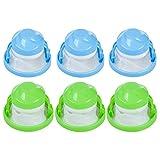 Nuluxi Atrapador de Pelo de Lavadora Cabello Neto Bolsa Flotante Lavadora Bolsa De Malla De Algodón Flotante es una Buena Herramienta para Ayudarte a Eliminar el Cabello(3 pcs Azul + 3 pcs Verde)
