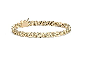 """MCS Jewelry 14 Karat Small Yellow Gold Two Row Rope Chain Bracelet 3.0 mm   Length  8"""""""
