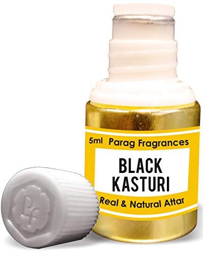 Parag Fragrances Black Kasturi Attar 5 ml (acide sans alcool longue durée pour homme ou utilisation religieuse) traditionnel Bhapka Processed Attar / Fabriqué en Inde.
