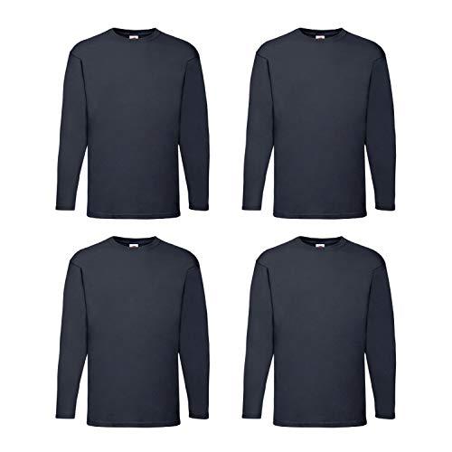 4 Fruit of the Loom T Shirt Longsleeve M L XL XXL Langarm verschiedene Farbsets auswählbar (L, Navy)