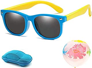 Kids Fashion Durable Polarized Sunglasses Soft Flexible Rubber for Boys and Girls with Cool Case and 2 pcs Dinosure balloons