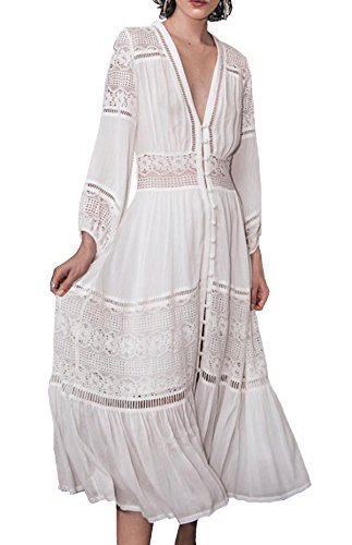 R.Vivimos Women's Summer Sexy Openwork Lace Stitching Dresses Small White