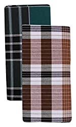 Mr.H Fashion Mersal Mens Poly-Cotton Checks Lungi/Sarong (Multi-Coloured, Set of 2)
