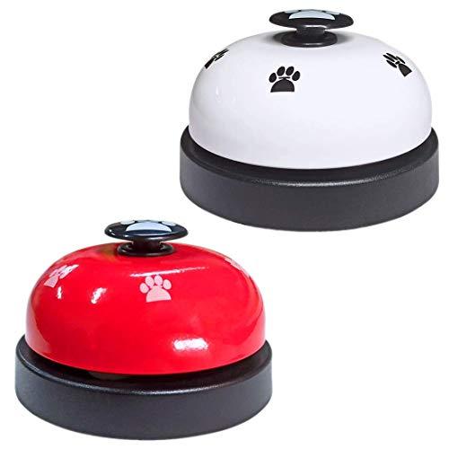 HONGECB Campanas de Entrenamiento para Mascotas, Timbre de Puerta para Gato Perro, Cute Cartoon Pet Bell, para Entrenamiento de Inodoro, Comunicación, Alimentación, 2Piezas, Blanco y Rojo