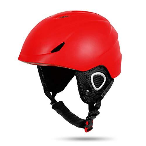 Casco Esquí, Casco De Bicicleta Ultraligero, Casco De Seguridad para Esquiar Al Aire Libre De Invierno, Circunferencia De La Cabeza Ajustable, Protección De Seguridad para Esquiar por Exteriores,Rojo