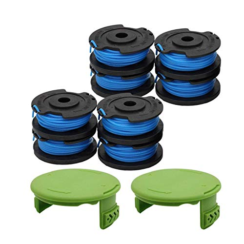 """YUEFENG 8 Pack String Trimmer Replacement Spools 29252 Compatible with Greenworks 21332 21342 24V 40V 80V Cordless Trimmer with 16ft 0.065"""" Single Line + 2 Pack Spool Caps (8 Spools, 2 Caps)"""