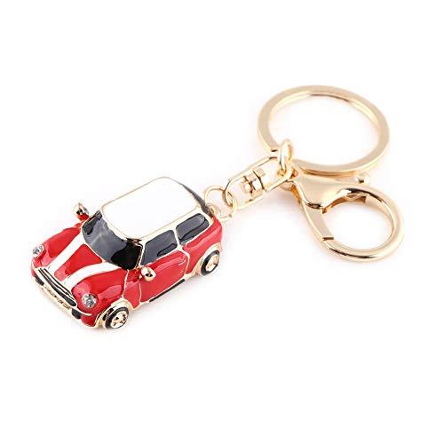 RK gifts Auto-Schlüsselanhänger, Motiv Mini, blau/rote Strasssteine, Goldfarbener Rand, Geschenkidee, Schwarz (1) (rot-weiß)