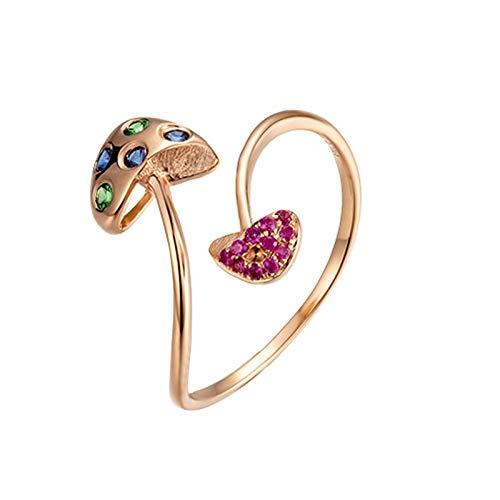 Bishilin Damen Ring 750 Verlobungsring Pilz mit 0.11 Diamant Rosegold Ringe für Hochzeit Größe 60 (19.1)