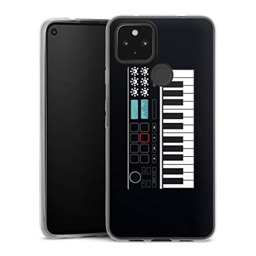 Slim Case extra dünn kompatibel mit Google Pixel 4a 5G Silikon Handyhülle transparent Hülle Klavier Musik cn Designs