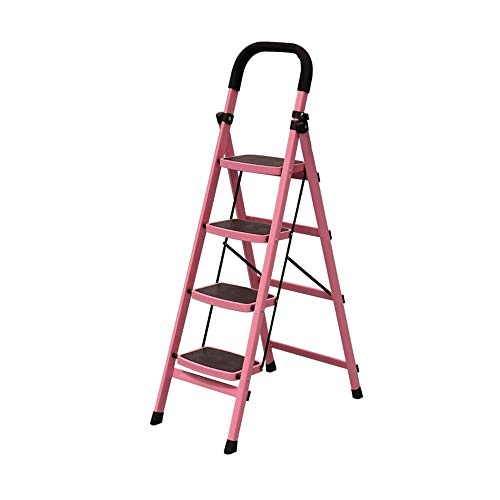 BENCONO 4 Step Ladder Aluminium Step Ladder Foldable Kitchen Step Household Thick Telescopic Step Stool (Size : Pink)