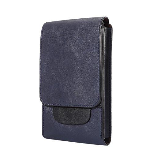 Bolsa de deporte de camping de piel vertical para teléfono móvil, funda con clip de mosquetón para cinturón, se adapta a tamaño grande de 6.3 pulgadas, azul oscuro