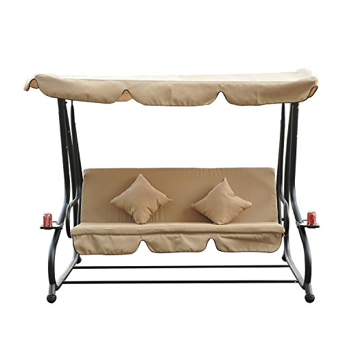 Dondolo da giardino a 3 posti, 200 x 120 x 164 cm, 2 cuscini, reclinabile, con ombrellone