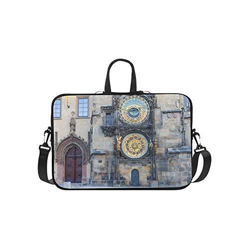 Alte Uhr in der Altstadt Muster Aktentasche Laptoptasche Messenger Schulter Arbeitstasche Crossbody Handtasche für Geschäftsreisen