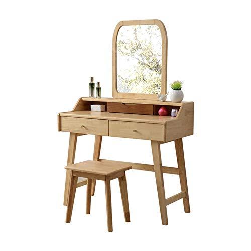Schminktisch Organizer für Schlafzimmer Gummi Holz Schminktisch Set mit Spiegel und Holzhocker , Make-up Schminktisch mit 3 Schubladen , Schreibtisch, moderner Schlafzimmer Schminktisch für Kinder M