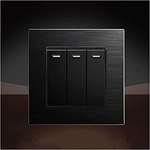 PJDOOJAE 86 interruptor de metal oculto 1-4 GAND 1-2 WAY BLACK Cepillado Tipo 86 Interruptor de panel de mejora de la casa Lámparas de encendido Lámparas para hoteles Soltero o doble interruptor de co