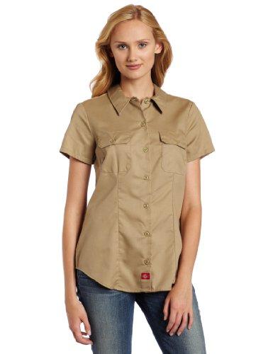 Dickies Women's Short-Sleeve Work Shirt, Khaki, Small