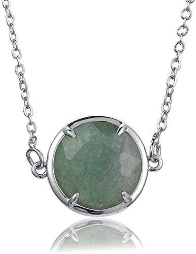 ZGYFJCH Co.,ltd Collar de Moda Collares Pendientes de Piedra para Mujer Borde Plateado Redondo facetado Collar Colgante Verde Piedra Natural Envuelto con Cadena de Plata Regalo de joyería